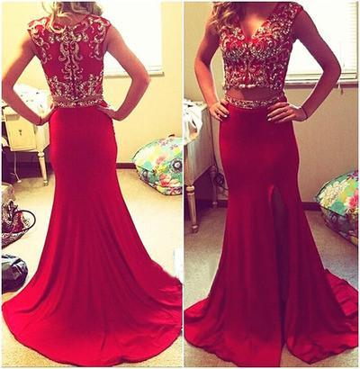 Red prom Dress,Charming Prom Dresses,Two pieces prom Dress,2018 prom dresses