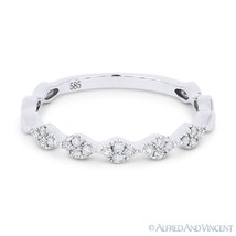 0.14 ct Round Cut Diamond Cluster Band 14k White Gold Stackable Annivers... - $449.99