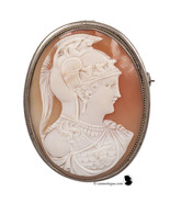 Vintage Carnelian shell cameo of Athena Minerva in a marked 835 silver m... - $305.00