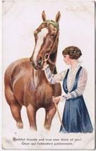 Artist Signed Postcard Florence Walter Horse Woman Faithful Friends - $4.71