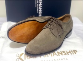 Handmade Men's Brown Suede Dress/Formal Lace Up Oxford Shoes image 4