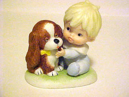 Vintage Porcelain HOMCO Figurine Boy  & Puppy Dog #1424 - $11.88