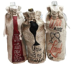 Set of 3 Wine Gift Bags Burlap with Wine Lover Phrases Jacket Sleeve Car... - $17.81