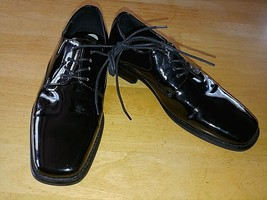 GIORGIO BRUTINI MENS BLACK PATENT LACE-UP DRESS SHOES-8.5M-WORN ONCE-GRE... - $9.99