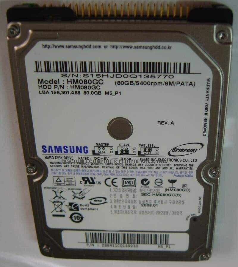 NEW Samsung HM080GC 80GB 2.5 inch 9.5MM IDE 44PIN Hard Drive Free USA Ship