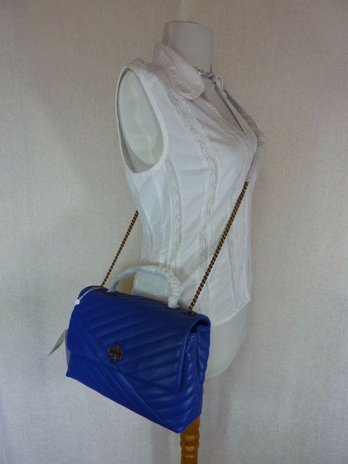 NWT Tory Burch Nautical Blue Kira Chevron Convertible Shoulder Bag image 3