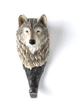 Brown, White, and Black Lone Wolf Head Design Wall Coat Hanger - $25.85