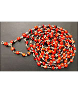 Red Chirmi Beads Mala in Silver / Gunja Mala In Silver - 109 Beads - $60.00