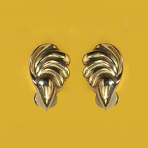Vintage Gold Tone Wave Earrings Clip On - $16.99