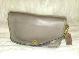 Coach Grey Leather Small Cross Body Shoulder Bag Vintage Made in USA - $28.71