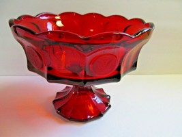 Large Fostoria Ruby Coin Pedestal Red Glass Dot Eagle Elegant Compote - $42.56