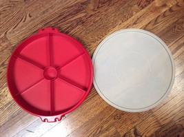 Vintage Tupperware Carrier Red Vegetable Tray with Lid  405-9 - $7.99