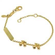 Bracelet Yellow Gold 18K 750, Girls, Plate, Cherries, Length 14 CM - $284.06