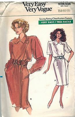 7549 UNCUT Vogue Sewing Pattern Misses Dress Loose Fitting Straight Mock Wrap 18