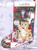 Candamar Kitten Under Tree Cat Christmas Tree Needlepoint Stocking Kit 50429 - $129.95