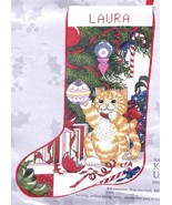 Candamar Kitten Under Tree Cat Christmas Tree Needlepoint Stocking Kit 5... - $129.95