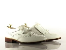 Handmade Men's White Leather Wing Tip Heart Medallions Fringe Dress/Formal Shoes image 5