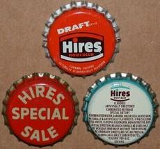 Vintage soda pop bottle caps HIRES ROOT BEER Collection of 3 different u... - $6.99