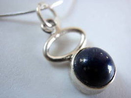 Very Small Lapis Hoop 925 Silver Necklace Blue Corona Sun Jewelry New - $16.82