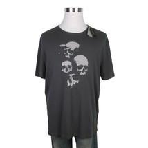 John Varvatos Star USA Skulls Graphic Coal Gray Cotton Tee Shirt Size Me... - $844,35 MXN