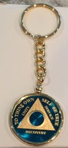 Any Year Or Month Blue 24k Gold Plated AA Medallion Keychain Removable Chip - $29.99