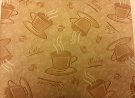 "Flannel Back Tablecloth Oblong 52"" X 90"", Coffee Types, Light Colors By Ap - $14.84"
