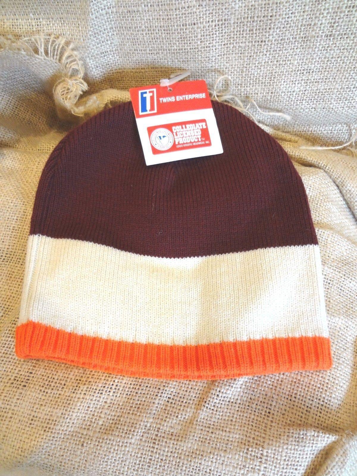 cb8b2d340 VIRGINIA TECH HOKIES ~ Orange Beige Maroon KNIT BEANIE SKULL HAT CAP~NWT