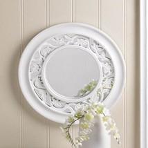 White Framed Wall Mirror Round Chic Shabby Framed Home Decor Wood Foyer ... - $34.60