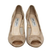 Authentic Jimmy Choo Open Toe Suede Heel Pumps Size 37.5 US 7.5 UK 4.5 - $163.63