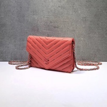 NEW AUTH CHANEL LIMITED Coral Pink Chevron WOC Wallet on Chain WOC Bag  image 3