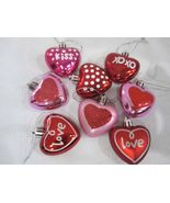"""Valentines Day Pink Red Glitter Hearts 2"""" Ornaments Decorations Set of 8 - $18.99"""