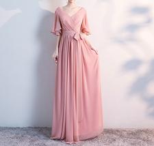 BLUSH Chiffon Bridesmaid Dresses Blush Pink Spaghetti Cap Sleeve Maxi Prom Dress image 3