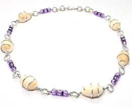 NECKLACE THE ALUMINIUM LONG 18 7/8in WITH SHELL HEMATITE AND CRYSTALS STRASS image 1
