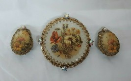 Vintage Signed W. GERMANY Floral Brooch or Pin w Clip Earrings Set PRETTY - $33.20