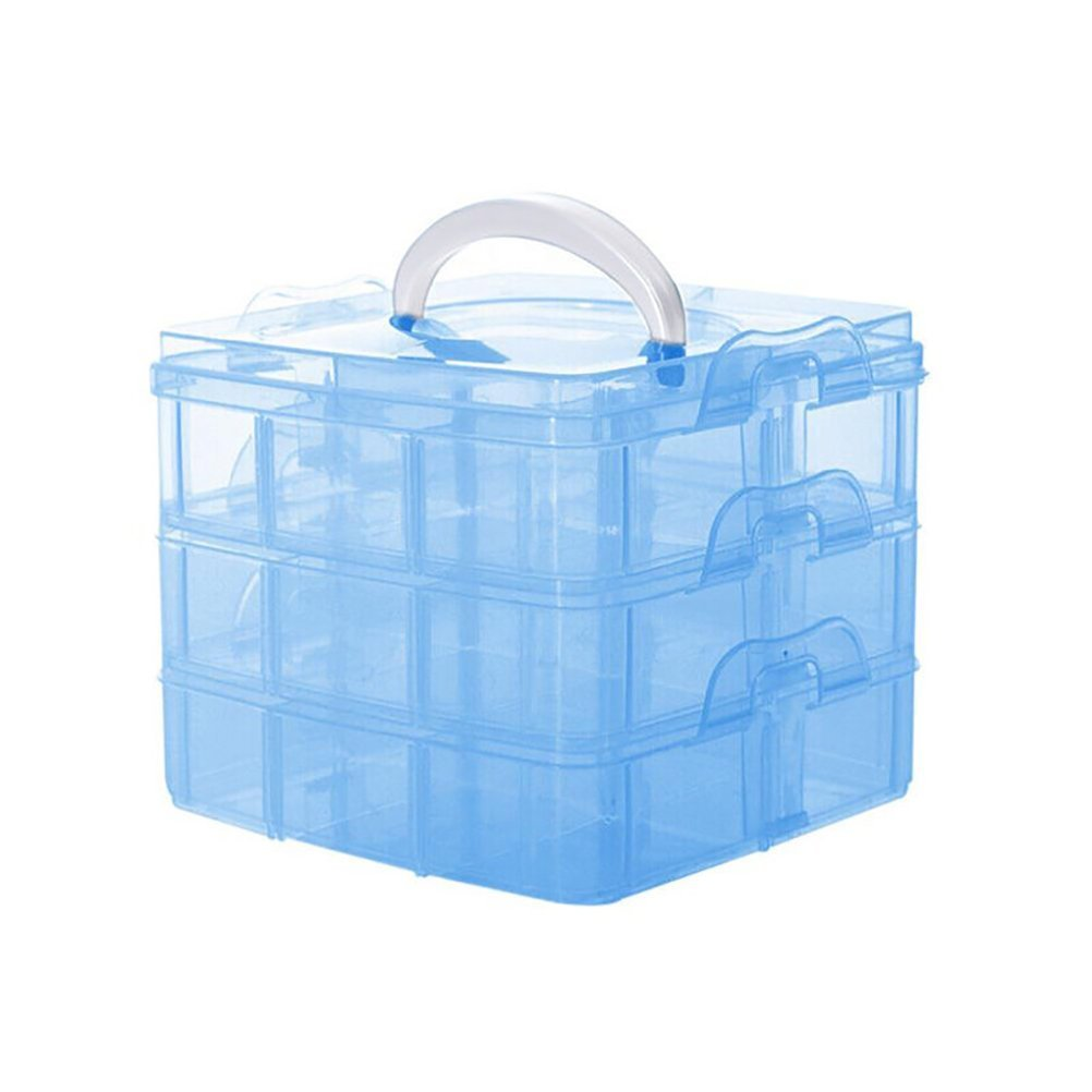 Samaz 3-Layer Transparent Craft Storage Box Jewelry Tool Container