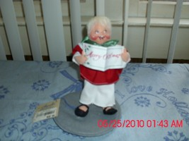 Excellent Used Annalee Mobilitee Doll 1994-CHOIR Boy Holding Merry Xmas Song - $9.79