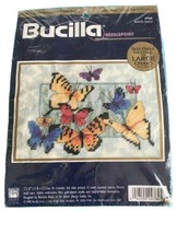 Bucilla Needlepoint New Craft Lot Butterfly Surprise Printed Canvas Wool Yarn - $25.75