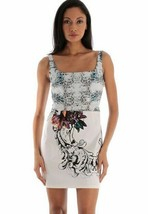 $398 Elie Tahari Kathy Sea Splash Contrast Print Stretch Silk Cotton Dress 12 - $131.75