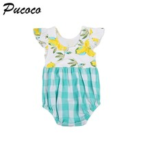 Green Plaid Baby clothing Summer Toddler Kids Baby Girls Puffy Floral Ro... - $9.79+