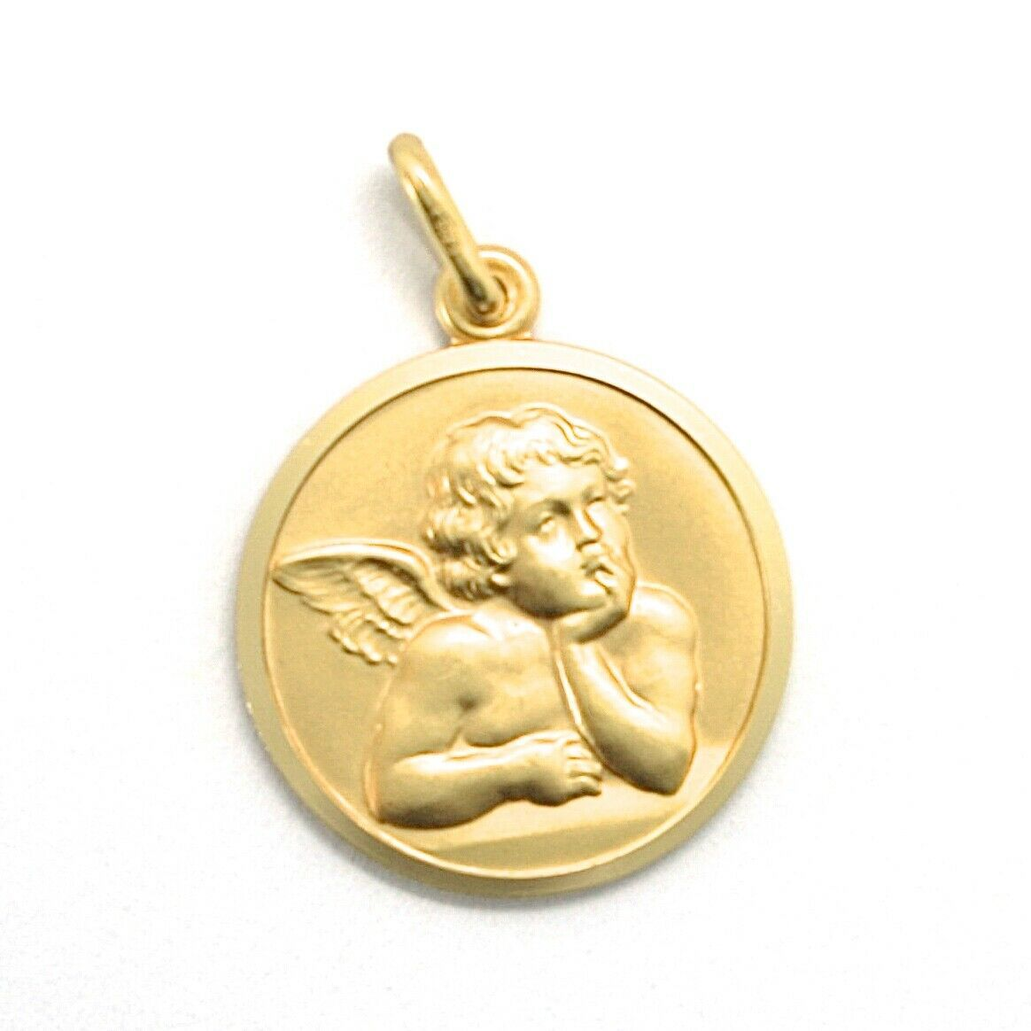 SOLID 18K YELLOW GOLD MEDAL, GUARDIAN ANGEL, 17 mm DIAMETER, VERY DETAILED