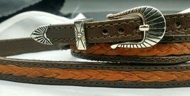 """NEW HATBAND BROWN & TAN 1/2"""" Woven LEATHER w/ Silver Buckle Set Cowboy H... - $23.45"""