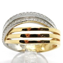 18K WHITE YELLOW GOLD BAND RING, CUBIC ZIRCONIA, BICOLOR BINARY, ONDULATE, WAVE image 1