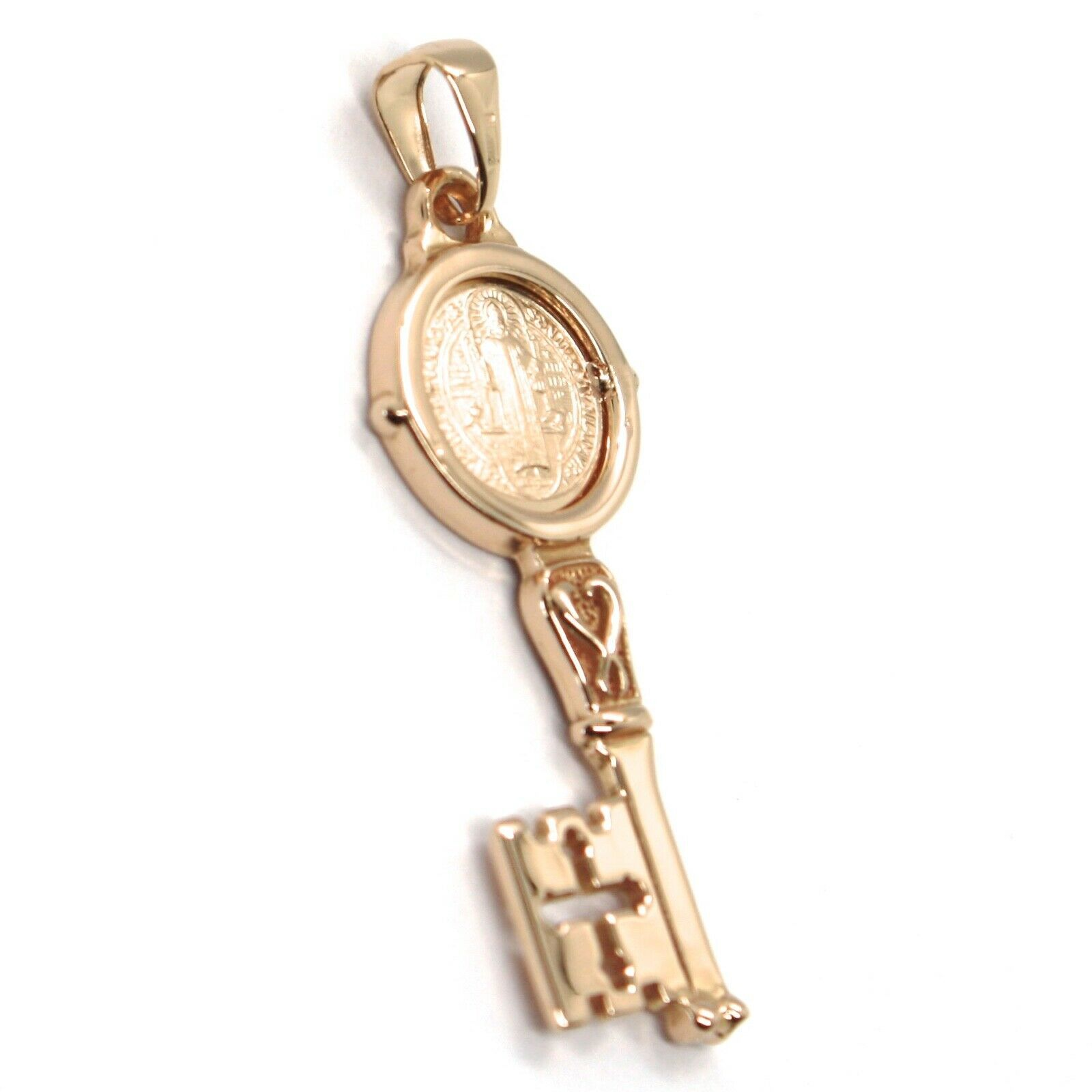SOLID 18K ROSE GOLD KEY PENDANT, SAINT BENEDICT MEDAL, CROSS, 1.2 INCHES image 2