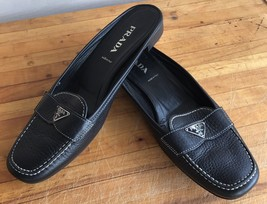 Prada Ladies Slip On Mule Shoes Slides Black Pebbled Leather Size 38 Fal... - $118.80