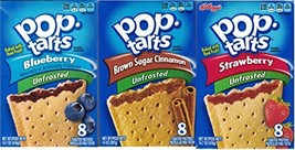 Variety Bundle of 3 Boxes Unfrosted Pop Tarts: Flavors are Blueberry, Brown Suga