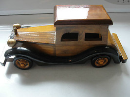 Antique style car made of wood, with hinged compartment, rolling wheels - $32.54