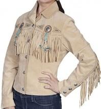 Ladies BEADED Fringe CHAMOIS Premium SUEDE Leather WESTERN CUT Jacket CO... - $189.99+