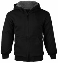 Boys Kids Athletic Soft Sherpa Lined Fleece Zip Up Hoodie Sweater Jacket - XL
