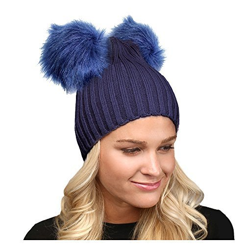 Beatnix Fashions Navy Double Faux Fur Pom Pom Beanie