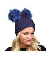 Beatnix Fashions Navy Double Faux Fur Pom Pom Beanie - €16,85 EUR